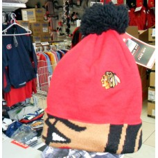 Chicago Blackhawks Fan Jacquard Cuff Pom Hat by Reebok