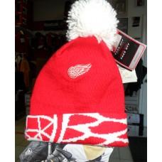 Detroit Red Wings Fan Jacquard Cuff Pom Hat by Reebok